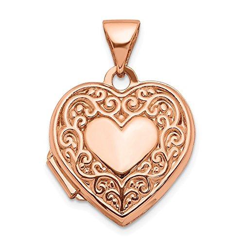 14K oro rosa 15mm de desplazamiento Corazón Locket