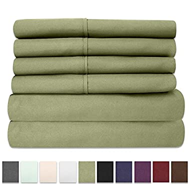 6 Piece 1500 Thread Count  Deep Pocket Bed Sheet Set - 2 EXTRA PILLOW CASES, GREAT VALUE - Queen, Sage