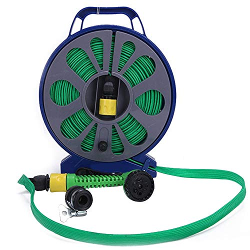 Garden Hose, with Handle Car Wash Flat Watering Flexible Hose Pipe Garden Outdoor Turntable 15 M Slim Spray Nozzle Cleaning High Pressure