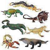 JOKFEICE Figuras de Animales 7 pcs Realista Plástico Animales Rastreros Incluye Lagarto, Camaleón, Ciempiés etc. Proyecto de Ciencia, Regalo de cumpleaños, Decoración de Pastel para niños