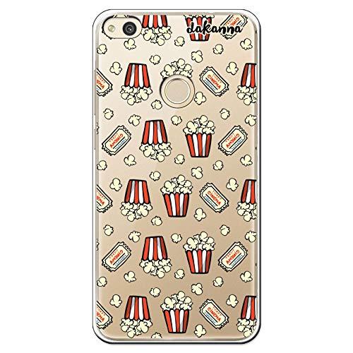 dakanna Funda para [Huawei P8 Lite 2017] de Silicona Flexible, Dibujo Diseño [Patron de Palomitas y entradas de Cine Vintage], Color [Fondo Transparente] Carcasa Case Cover de Gel TPU, Smartphone