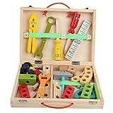 Giocattoli per Attrezzi in Legno Fai Finta di Giocare Cassetta degli Attrezzi Accessori per l'edilizia educativa Set di Giocattoli da Costruzione per Bambini Giochi di Ruolo(SBB-30)