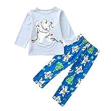 KMKM Conjunto de pijama de Navidad para familia, mujer, hombre, niño, niña, algodón, diseño de ciervo, camiseta a cuadros, pantalones de pijama de Navidad, Azul-a, 140 cm