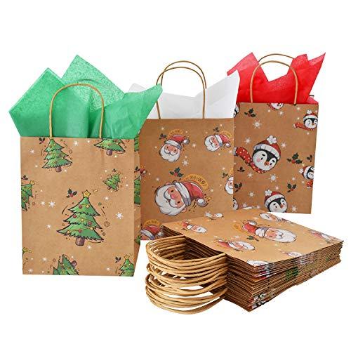 Sacchetti regalo di carta kraft naturale di Natale 15PCS in 3 stili per le decorazioni della festa di Natale