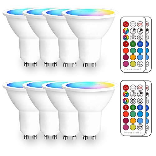 iLC Bombilla LED Foco GU10 Colores RGBW Bombillas spot Cambio de Color Regulable Blanco Cálido 2700k Casquillo - RGB 12 Colore - Control remoto Incluido - Equivalente de 40 Watt (Pack de 8)