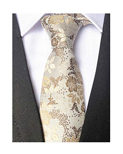 Mens Women Boys Champagne Ivory Necktie Small Novelty Floral Extra long Silk Tie