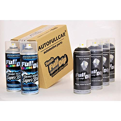 AutoFullCar - Pack Sprays Full Dip Negro Metalizado Super Brillo Vinilo líquido | FullDip