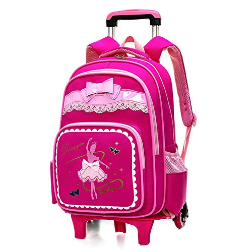 XWWS Bow-Knot Trolley Rolling School Backpack - Dancing Girl Waterproof Book Bag for Boys and Girls, Best Gift,Rosered,B