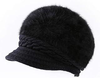 XYIYI Womens Winter Warm Berets Hat Girls Angora Wool Knit Crochet Snow Cap