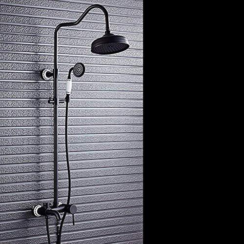 WMZQW System Duschsäule Duschsäule Brass Ensemble Dusche Badewanne-Dusche-Mischer-Dusche-Satz Lifting Vintage antike Kupfer Dusche Dusche System Schwarz