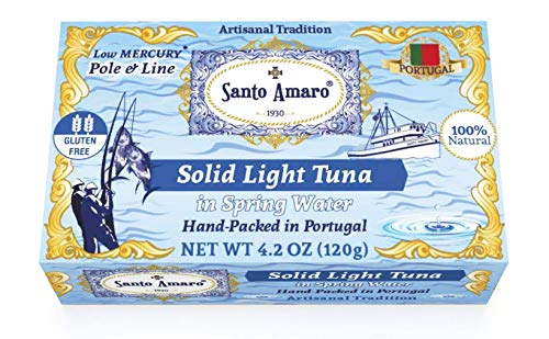 SANTO AMARO Artisanal Wild Tuna in Spring Water (12 Pack, 120g Each) PRISTINE STYLE! 100% Natural - GMO FREE - Pole & Line Caught Skipjack - Keto - Paleo - Solid Hand Packed in PORTUGAL