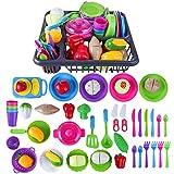 MAJOZ 48 Teile Geschirr Garnitur Spielen,Deluxe Küche Spielzeug Ware Set Plastik Kochen Geschirr Essen Kinder Geschenk