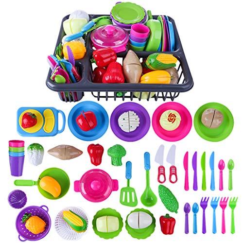 Batop 48 juguetes de cocina para niños, de plástico, para cortar frutas y verduras, con vajilla para niños, juego de rol para niñas, niños y niñas