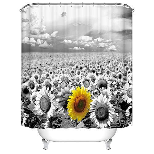 Fangkun Duschvorhang mit gelben Sonnenblumen, wasserdichter Polyester-Stoff, Kunst-Badvorhänge, Deko-Set, 12 Duschvorhänge, 183 x 183 cm