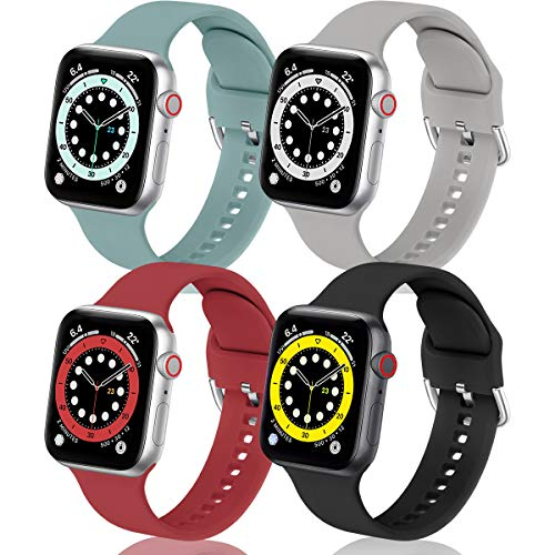 BesBand Pack 4 Straps Compatible with Apple Watch Strap 40mm 38mm 44mm 42mm,Soft Silicone Sports Watch Replacement Band for iWatch Series 6 Series5/4/3/2/1,SE
