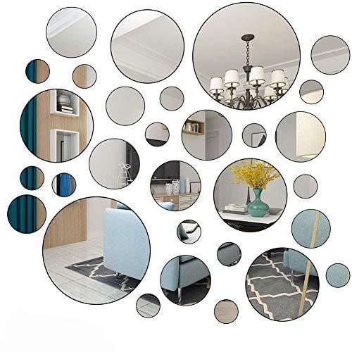 30 pegatinas de pared de espejo redondo extraíble acrílico espejo pegatinas moderno adhesivo de pared para el hogar, sala de estar, dormitorio, pasillo decoración