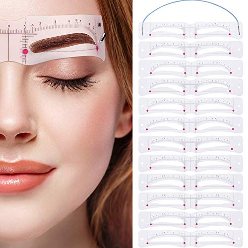 Eyebrow Stencil,Eyebrow Shaper Kit 12 Styles 3 Minutes Makeup Tools For Eyebrows Extremely Elaborate Reusable Eyebrow Template Eyebrow Gel Eyebrow Dye Stencils for A Range Of Face Shapes