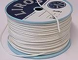 Seil Polyester - Flechtleine 5mm weiß 8-fach geflochten Rolle 250
