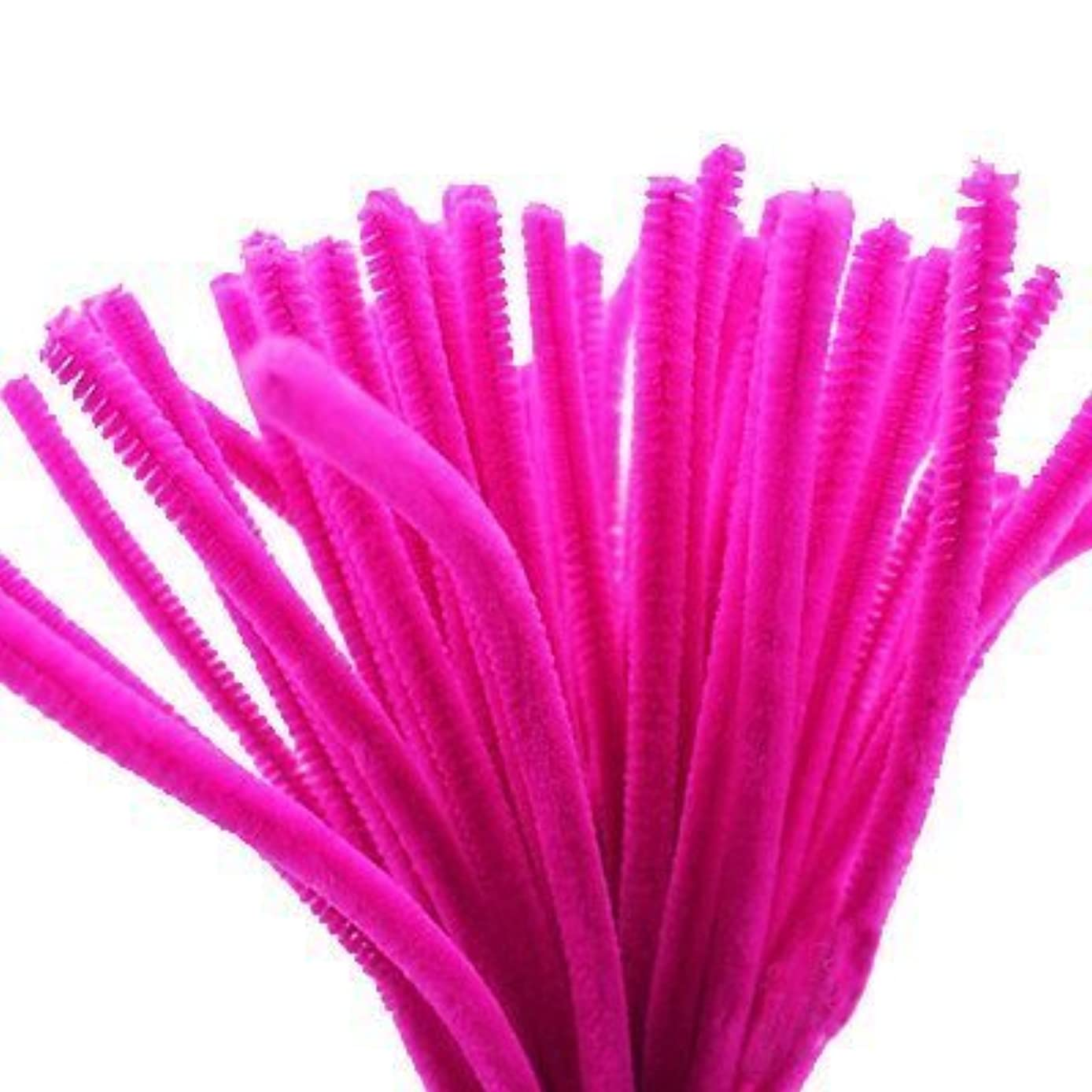 Caryko Super Fuzzy Chenille Stems Pipe Cleaners, Pack of 100 (Hot Pink)