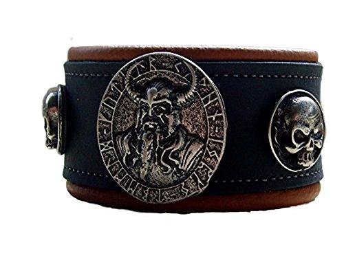 Lederarmband Odins Amulette Farbe Schwarz-beigen 2-Farbig
