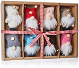 BRUBAKER Juego de 8 Piezas de Gnomos Navideños de Madera y Tejido Colgante de Árbol Colgante de Navidad Grande 9 cm en Caja de Regalo