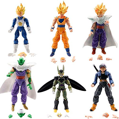 Dragon Ball Z 6x 5' Figures: Piccolo Cell Trunks Super Saiyan Goku Gohan Vegeta
