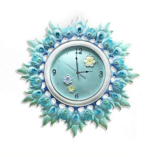 DHTOMC Reloj de pared KWLL Estilo Europeo Silencioso de Pavo Real Pantalla Abierta Simple Decorativo, Aplicable a Multiespacio Mute el Movimiento. 64 cm de diámetro.