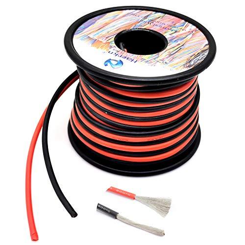 1.3mm² 16 AWG Silikon Elektrischer Draht Hook-up Kabel Insgesamt 20 Meter [10 Meter schwarz und 10 Meter rot] sauerstofffrei hochtemperaturbeständiger verseilter verzinnter Kupferdraht, Spule