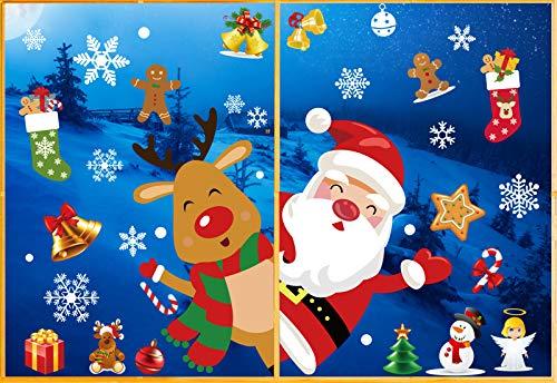 Fensterbilder Weihnachten Kinderzimmer, Aufkleber Weihnachten Fenster, Weihnachtssticker Fenster, Fensterfolie Weihnachten, Window Stickers Winter Decoration Christmas Window Decorations