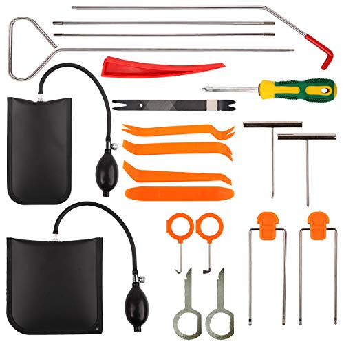 Mtanlo 21Pcs Professional Car Tool Kit with Air Wedge Long Reach Grabber Non Marring Wedge Multifunctional Tool Set for Cars Trucks
