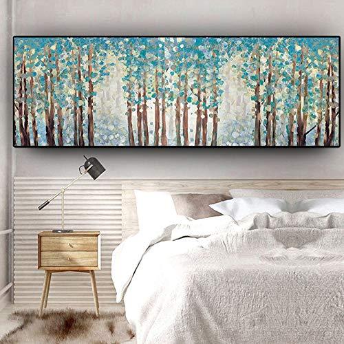 KWzEQ Natürliche grüne Baumblume Pflanze abstrakte Leinwand Malerei Poster Landschaft Wohnzimmer Wandbild,Rahmenlose Malerei,30x80cm