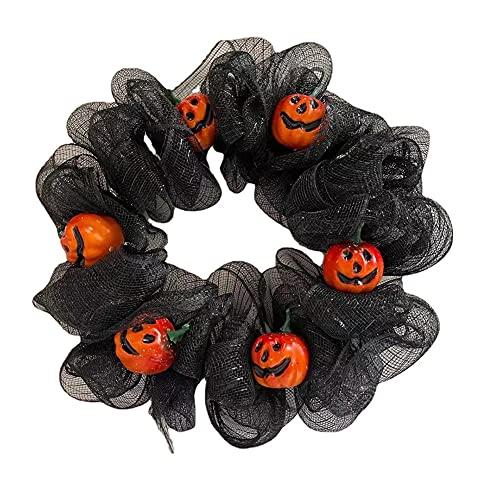 Corona de calabaza de Halloween para la puerta de entrada con gasa Decoraciones colgantes de Halloween creativas para la silla de la chimenea de la barra de la sala colgantes alrededor de 16 pulgadas