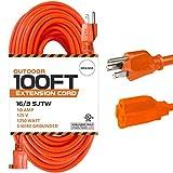 100 Ft Orange Extension Cord - 16/3 SJTW...