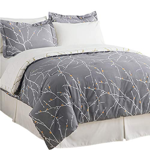 Bedsure Bed in A Bag Bedding Sets Queen with Comforter Queen Comforter Set 8 Pieces Grey Tree Branch Printed - 1 Comforter, 2 Pillow Shams, 1 Flat Sheet, 1 Fitted Sheet, 1 Bed Skirt, 2 Pillowcases