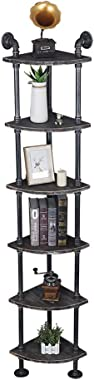 (6 Tier) Industrial Retro Wall Mounted Floor Corner Pipe Shelf, Pipe Wooden Bookshelf and Bookcases Furniture