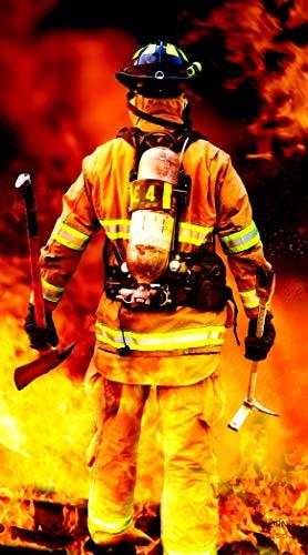 TEXTIL TARRAGO Strandtuch, 90 x 170 cm, 100 % Baumwolle, Feuerwehr, Flammen, Digitaldruck, THD15