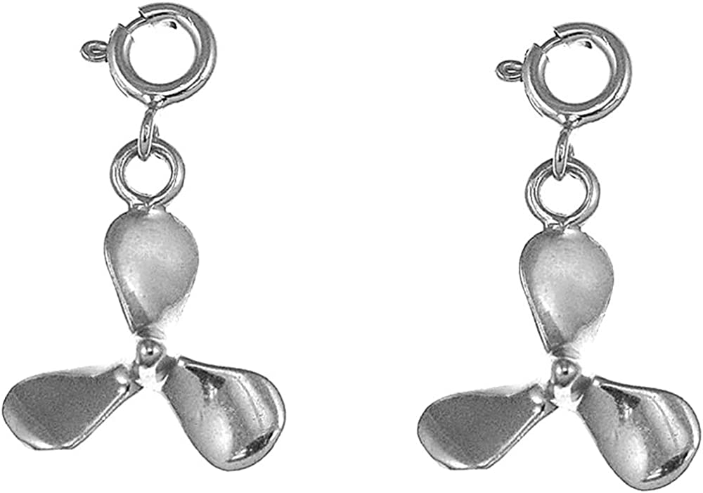 Jewels Obsession Propeller Earrings Manufacturer direct Popularity delivery White L Gold 14K