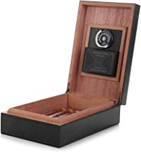 MEGACRA Cigar Humidor, Leather Surface Cedar Wood Lined Humidor Hygrometer Humidifier, Hold 10-20 Cigars