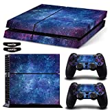 Ps4 Stickers Full Body Vinyl Skin Decal Cover for Playstation 4 Console Controllers (with 4pcs Led Lightbar Stickers) (Blue Starry Sky)