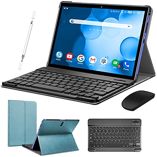 2 in 1 Tablet 10 Inch Android 9.0 Pie Tablets with Keyboard 128GB Expand 4GB RAM 64GB ROM | Dual 4G | WiFi | GPS | 8000mAh | 8MP Camera, Google GMS...