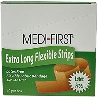 Medi-First Extra Long Flexible Strip Adhesive Bandages,  3/4 x 4-11/16 Inch - 1/Box of 40