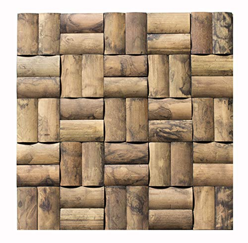 Bambus-Design Mosaik Fliesen - Handmuster BM-007 - Wand-Verblender Holz-Design Paneele Holz-Verkleidung Bamboo-Mosaic Wall-Design - Fliesen Lager Verkauf Stein-mosaik Herne NRW