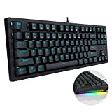 Wired Mechanical Keyboard Gaming Keyboard Brown Switches LED Backlit RGB Side Lights 87 Keys N-Key Rollover Computer PC Keyboard