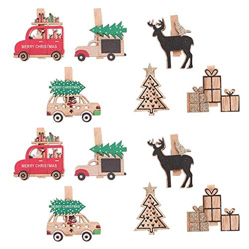 ABOOFAN Mini Clips de Madera para Fotos de Navidad 12 Pins Pequeños para Ropa Clips para Fotos de Papel de Madera Clip para Ropa para Manualidades Proyectos de Arte Favor de Fiesta