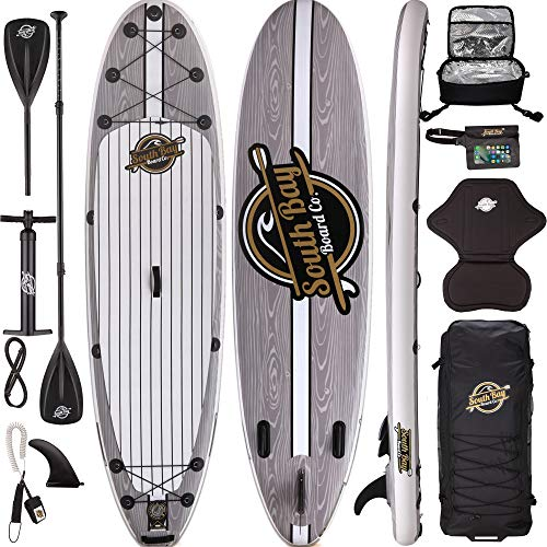 10'6 Aqua Discover ISUP Package-Inflatable Stand Up Paddle Board (6' Thick), Floating 3 Piece Adjustable Paddle, Dual Action Pump, Leash, Fins, Back Pack - Complete ISUP Package