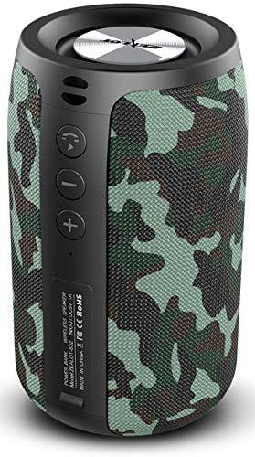 Bluetooth Lautsprecher, Tragbarer Wireless Lautsprecher mit TWS Bluetooth 5.0 Stereo Sound HD Mikrofon, TF-Karte/AUX-Freisprechanrufe 12H Spielzeit - Camouflage
