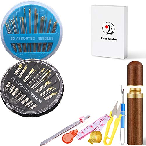 Sewing Needles in Gift Box - Premium Embroidery Needle for Hand-Sewing Sharp Stitching Quilting Needles Kit with Rosewood Case for Repair Mending Craft DIY, 60PCS Assorted (Golden Tail)