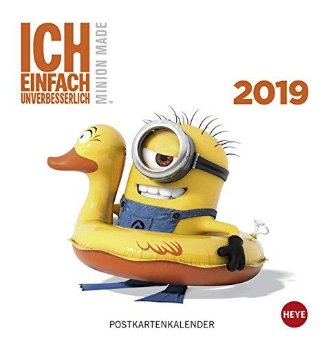 Minions - Ich einfach unverbesserlich - Postkartenkalender 2019 - Heye-Verlag - mit 12 heraustrennbaren Postkarten - 16 cm x 17 cm