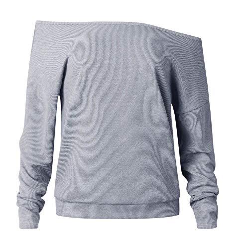AMUSTER Damen Sweater Elegant Damen Strickpullover Carmen Schulterfrei Off Shoulder Oversize Pulli Fledermausärmel Oberteil Sweatshirts S-XL