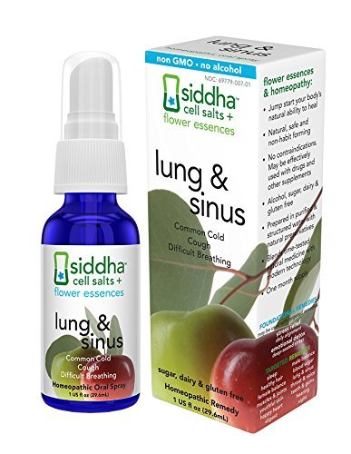 Siddha Remedies Lung & Sinus Spray for Sinus Relief, Congestion Relief, Cough Suppressant, Cold Medicine, Runny Nose | Homeopathic Allergy Medicine Relief | Non GMO w/ Cell Salts, No Alcohol, Sugar